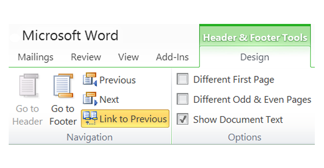 Create Different Headers in Word